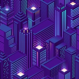Naadloos patroon van isometrische stad met wolkenkrabbers en kantoorgebouwen 's nachts. paarse achtergrond met architectuur van bedrijfshuizen en appartementen. stadsgezicht van het moderne centrum