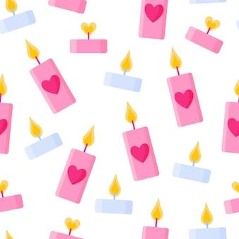 Naadloos patroon van kaarsen met hart
