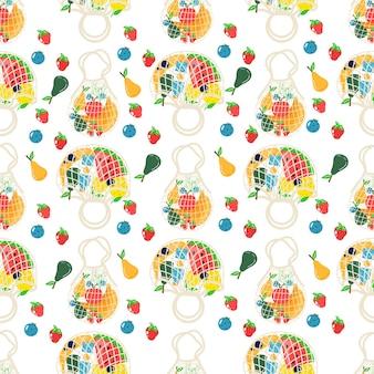 Naadloos patroon van katoenen eco-winkelnet met groenten, fruit en gezonde dranken. zuivelvoer in herbruikbare milieuvriendelijke shoppertas. zero waste. plat trendy ontwerp