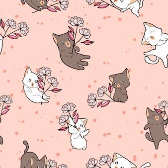 Naadloos patroon van katten die bloemen houden
