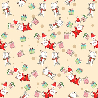 Naadloos patroon van kerstmankatten en rendierenkatten