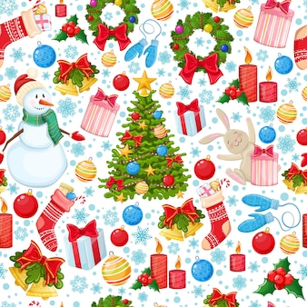 Naadloos patroon van kerstmispictogrammen. kleurrijke cartoon kerst illustratie voor decoratie.