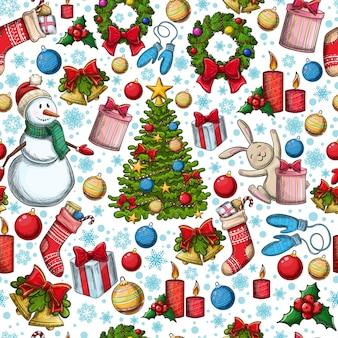 Naadloos patroon van kerstmispictogrammen
