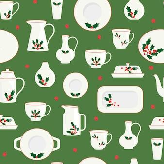 Naadloos patroon van kerstservies keramisch keukenservies versierd met maretak