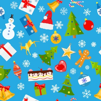 Naadloos patroon van kerstsymbolen in vlakke stijl op lichtblauwe achtergrond Premium Vector