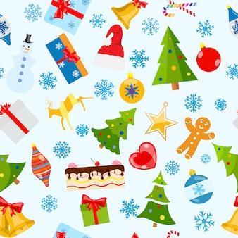 Naadloos patroon van kerstsymbolen in vlakke stijl op witte achtergrond
