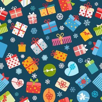 Naadloos patroon van kleurrijke geschenkdozen op blauwe achtergrond