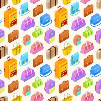 Naadloos patroon van kleurrijke isometrische zakkenans koffers. illustratie.