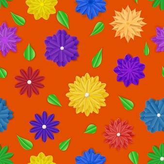 Naadloos patroon van kleurrijke papieren bloemen met schaduwen