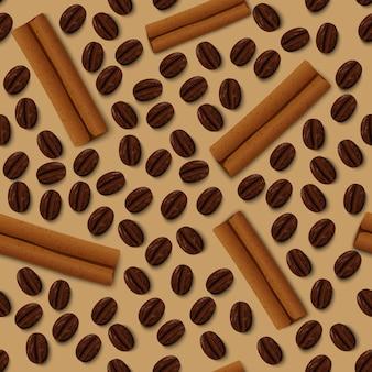 Naadloos patroon van koffie en kaneel