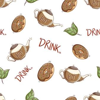 Naadloos patroon van koffiecontainer met smakelijk dessert met krabbelstijl