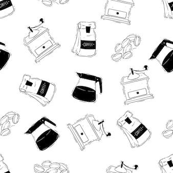 Naadloos patroon van koffiezetapparaat of koffietijd met handgetekende stijl