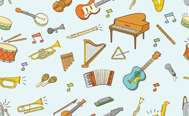 Naadloos patroon van krabbel muzikaal instrument
