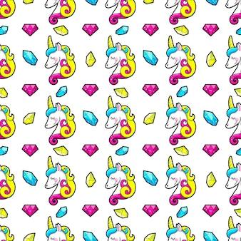 Naadloos patroon van kristallen en eenhoorns.