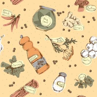 Naadloos patroon van kruiden en kruiden
