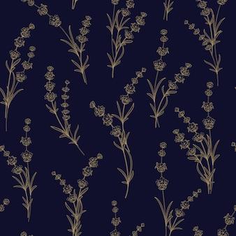 Naadloos patroon van lavendelbloemen.