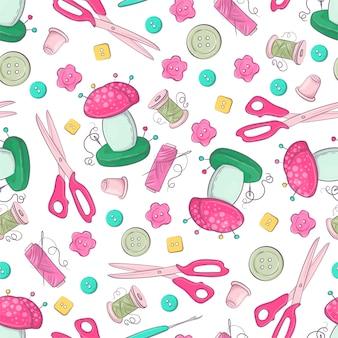 Naadloos patroon van ledenpop naaiende accessoires.