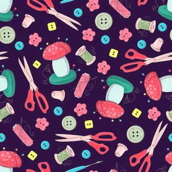Naadloos patroon van ledenpop naaiende toebehoren
