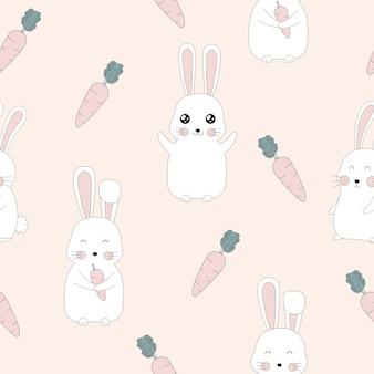 Naadloos patroon van leuk konijn en wortelontwerp.