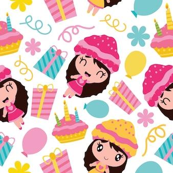 Naadloos patroon van leuk meisje, verjaardagscake