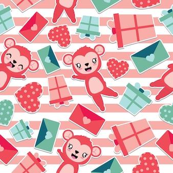 Naadloos patroon van leuke aap en valentine-elementen