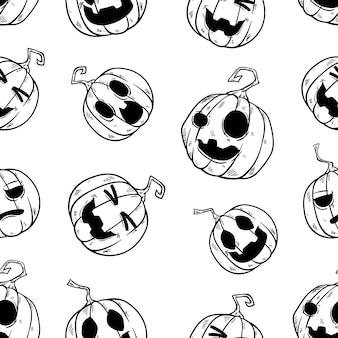 Naadloos patroon van leuke halloween-pompoen met hand getrokken stijl