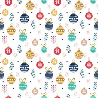 Naadloos patroon van leuke kerstballen