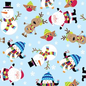 Naadloos patroon van leuke kerstman en vrienden
