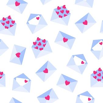 Naadloos patroon van liefdesbrieven in envelop