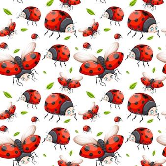 Naadloos patroon van lieveheersbeestje