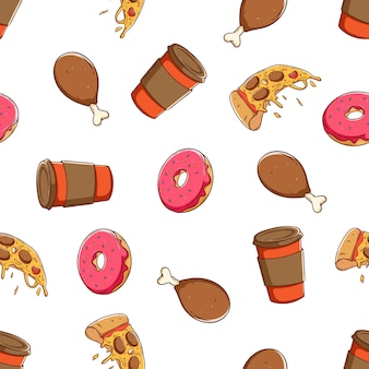 Naadloos patroon van lunch of fastfood