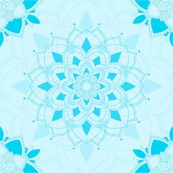 Naadloos patroon van mandala in blauw