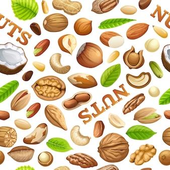 Naadloos patroon van noten.