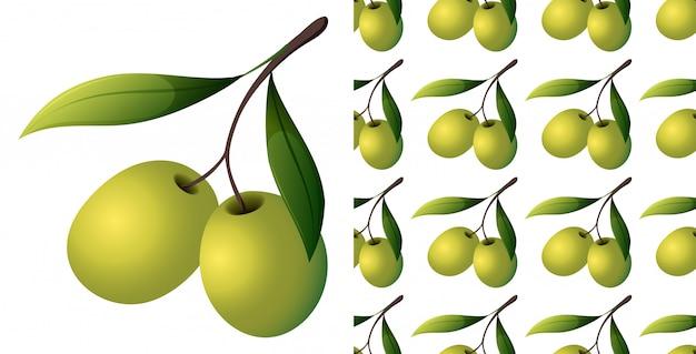 Naadloos patroon van olijven op wit