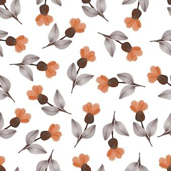 Naadloos patroon van oranje bloemen en bruin blad