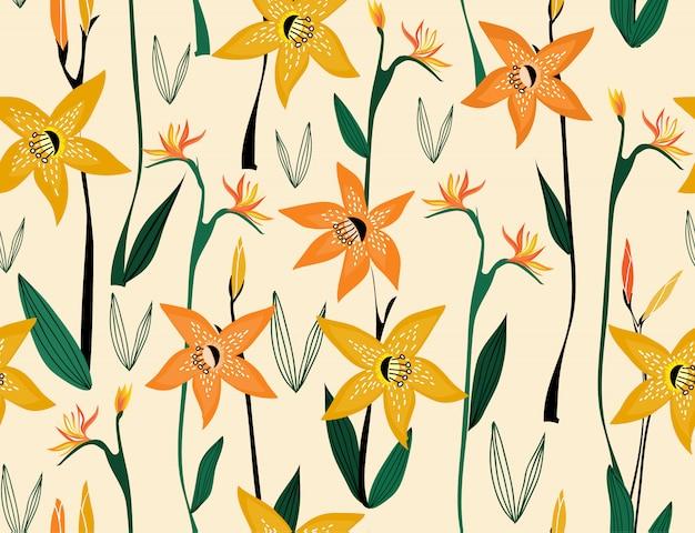 Naadloos patroon van oranje lelie