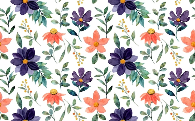 Naadloos patroon van oranje paarse bloemen aquarel