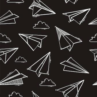 Naadloos patroon van origami-document vliegtuig