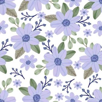 Naadloos patroon van paarse bloemen
