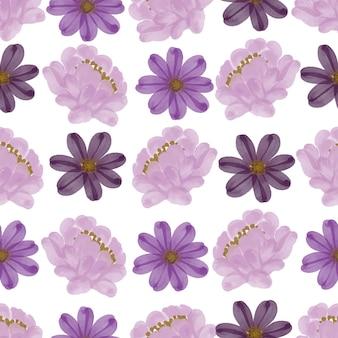 Naadloos patroon van paarse en roze bloemen