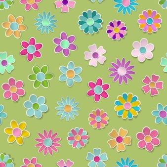 Naadloos patroon van papieren bloemen in verschillende kleuren met schaduwen