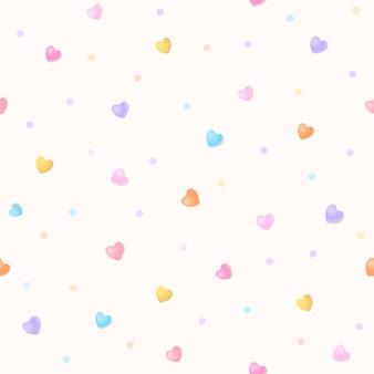 Naadloos patroon van pastelkleurhart en stip