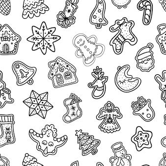Naadloos patroon van peperkoek kerstkoekjes