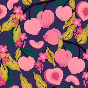 Naadloos patroon van perziken op een tak. vectorafbeeldingen.