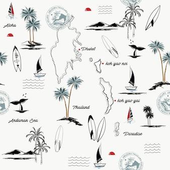 Naadloos patroon van phuket-eiland in het paradijs van thailand