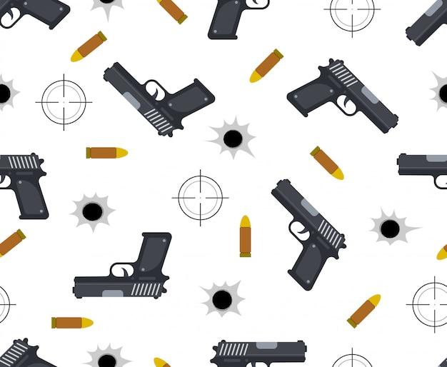 Naadloos patroon van pistool met kogel en kogelgaten