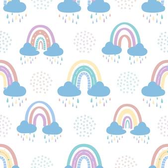 Naadloos patroon van regenboog met wolken. vector illustratie