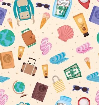 Naadloos patroon van reiselementen