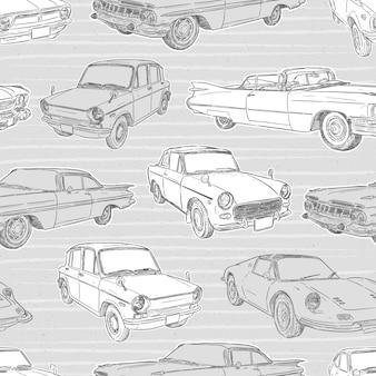 Naadloos patroon van retro auto.
