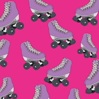 Naadloos patroon van rolschaatsen van de jaren 90 retrostijl